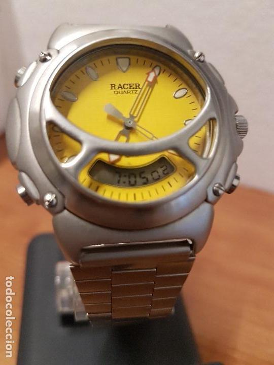 Relojes - Racer: Reloj caballero Vintage RACER analogico y digital corona de rosca, esfera amarilla con correa acero - Foto 8 - 141492278