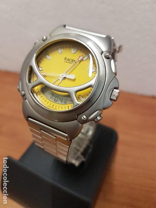 Relojes - Racer: Reloj caballero Vintage RACER analogico y digital corona de rosca, esfera amarilla con correa acero - Foto 9 - 141492278