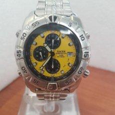 Relojes - Racer: RELOJ CABALLERO RACER CRONÓGRAFO ALARMA, W.R.100 METROS, CALENDARIO A LAS TRES, CORREA ACERO ORIGINA. Lote 154689070