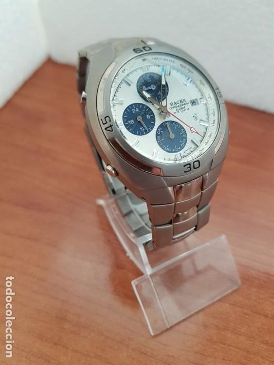 Relojes - Racer: Reloj caballero Racer cronógrafo alarma, W.R.10 ATM, calendario a las tres, correa titanio origina - Foto 2 - 158232394