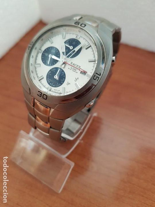 Relojes - Racer: Reloj caballero Racer cronógrafo alarma, W.R.10 ATM, calendario a las tres, correa titanio origina - Foto 3 - 158232394