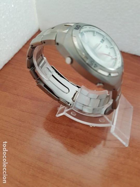 Relojes - Racer: Reloj caballero Racer cronógrafo alarma, W.R.10 ATM, calendario a las tres, correa titanio origina - Foto 4 - 158232394