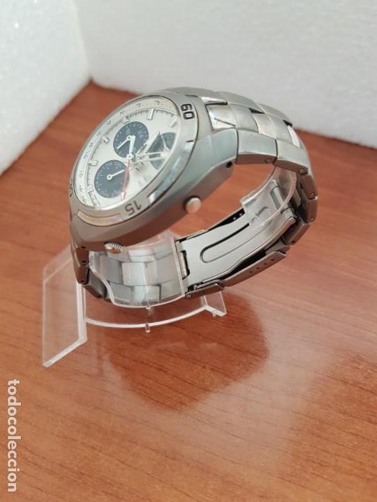 Relojes - Racer: Reloj caballero Racer cronógrafo alarma, W.R.10 ATM, calendario a las tres, correa titanio origina - Foto 5 - 158232394