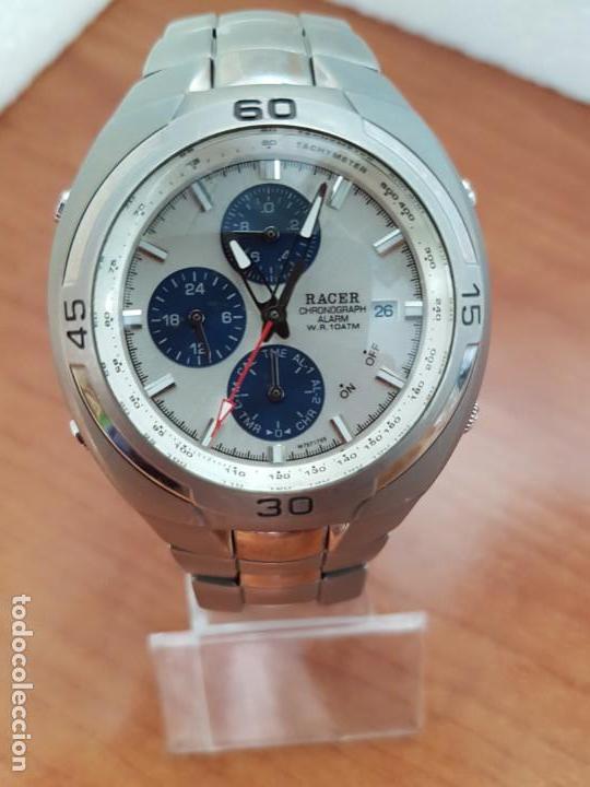 Relojes - Racer: Reloj caballero Racer cronógrafo alarma, W.R.10 ATM, calendario a las tres, correa titanio origina - Foto 6 - 158232394