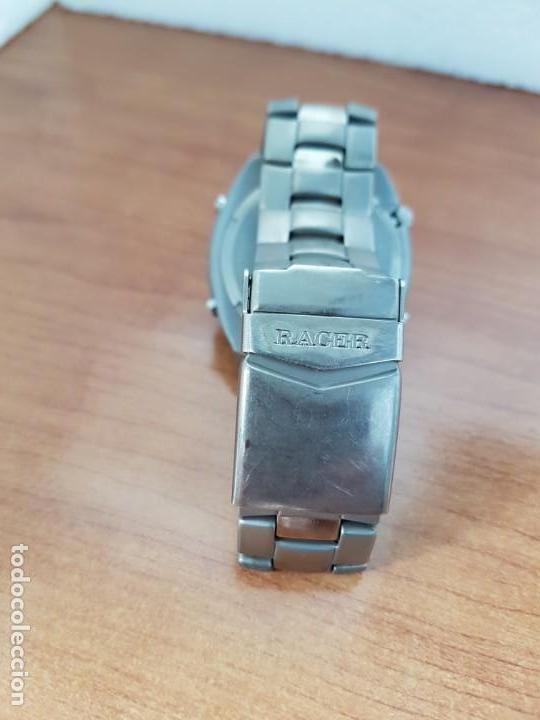 Relojes - Racer: Reloj caballero Racer cronógrafo alarma, W.R.10 ATM, calendario a las tres, correa titanio origina - Foto 7 - 158232394