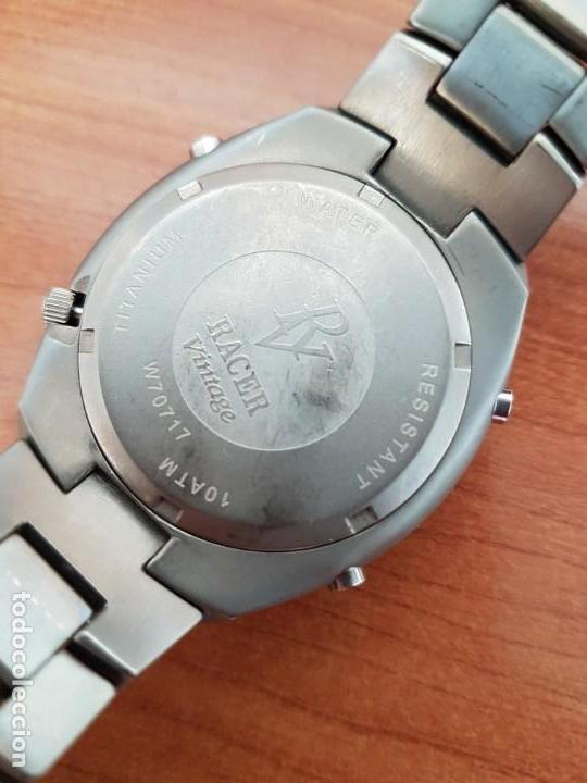 Relojes - Racer: Reloj caballero Racer cronógrafo alarma, W.R.10 ATM, calendario a las tres, correa titanio origina - Foto 12 - 158232394