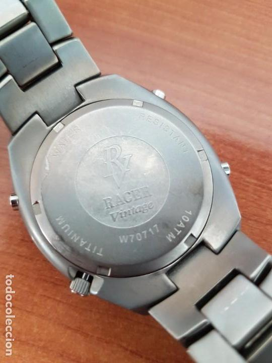 Relojes - Racer: Reloj caballero Racer cronógrafo alarma, W.R.10 ATM, calendario a las tres, correa titanio origina - Foto 14 - 158232394