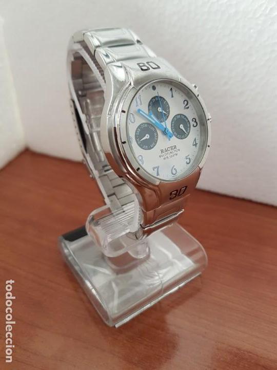 Relojes - Racer: Reloj caballero RACER multifunción en acero, esfera blanca y azul, cristal sin rayas, correa acero - Foto 2 - 163467650