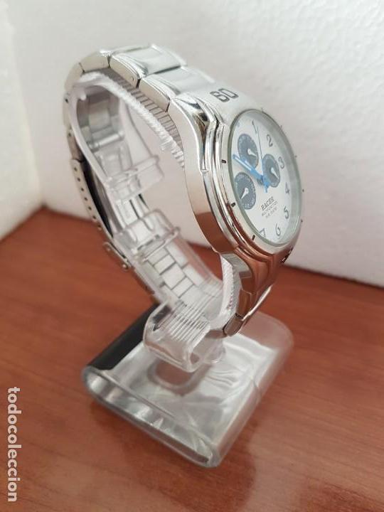 Relojes - Racer: Reloj caballero RACER multifunción en acero, esfera blanca y azul, cristal sin rayas, correa acero - Foto 4 - 163467650