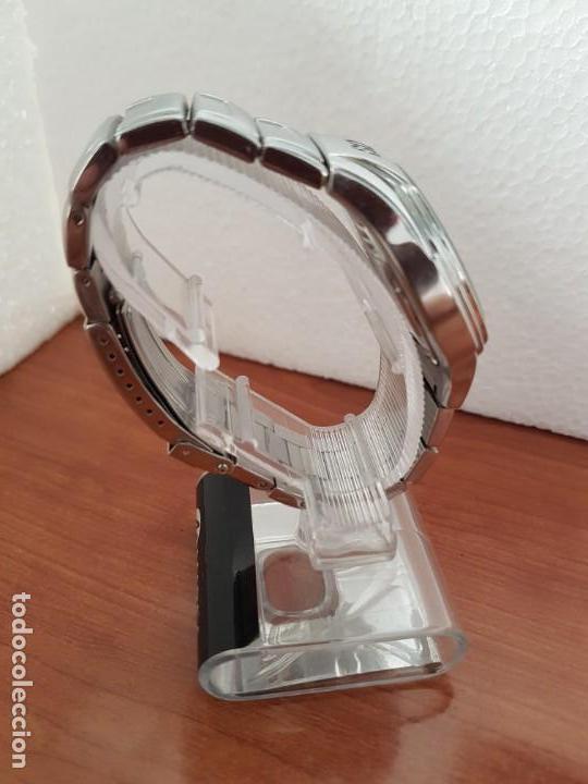 Relojes - Racer: Reloj caballero RACER multifunción en acero, esfera blanca y azul, cristal sin rayas, correa acero - Foto 6 - 163467650