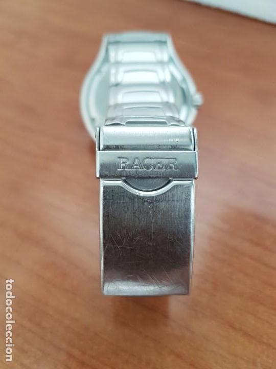 Relojes - Racer: Reloj caballero RACER multifunción en acero, esfera blanca y azul, cristal sin rayas, correa acero - Foto 8 - 163467650