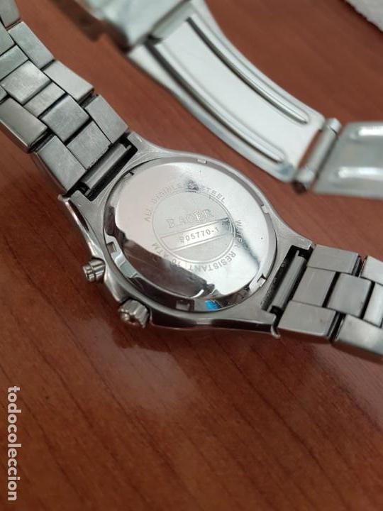 Relojes - Racer: Reloj caballero RACER multifunción en acero, esfera blanca y azul, cristal sin rayas, correa acero - Foto 9 - 163467650