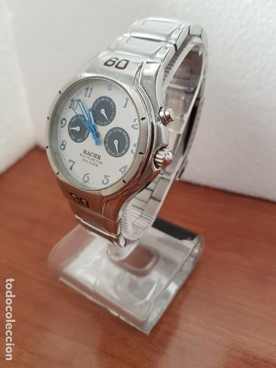 Relojes - Racer: Reloj caballero RACER multifunción en acero, esfera blanca y azul, cristal sin rayas, correa acero - Foto 10 - 163467650
