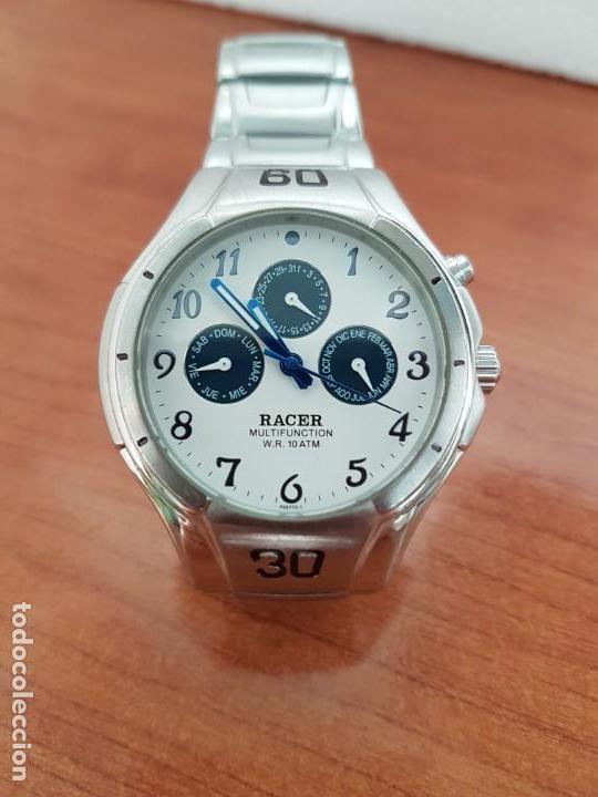 Relojes - Racer: Reloj caballero RACER multifunción en acero, esfera blanca y azul, cristal sin rayas, correa acero - Foto 12 - 163467650
