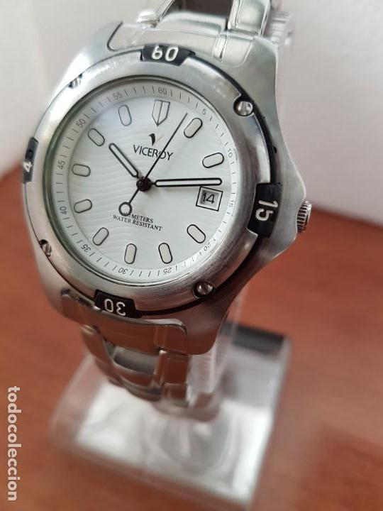 Relojes - Racer: Reloj caballero Viceroy de cuarzo en acero,calendario, esfera blanca, pulsera acero original Viceroy - Foto 3 - 163468666