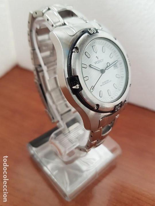 Relojes - Racer: Reloj caballero Viceroy de cuarzo en acero,calendario, esfera blanca, pulsera acero original Viceroy - Foto 4 - 163468666