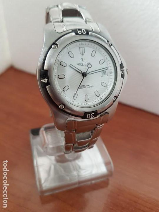 Relojes - Racer: Reloj caballero Viceroy de cuarzo en acero,calendario, esfera blanca, pulsera acero original Viceroy - Foto 5 - 163468666