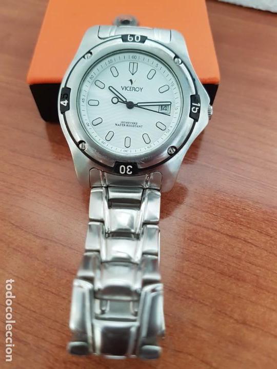 Relojes - Racer: Reloj caballero Viceroy de cuarzo en acero,calendario, esfera blanca, pulsera acero original Viceroy - Foto 9 - 163468666