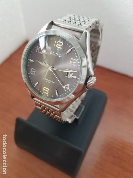 Relojes - Racer: Reloj caballero RACER de cuarzo en acero corona de rosca,esfera gris con calendario, pulsera acero - Foto 2 - 163495178