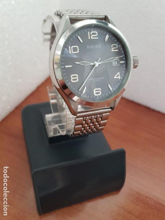 Relojes - Racer: Reloj caballero RACER de cuarzo en acero corona de rosca,esfera gris con calendario, pulsera acero - Foto 3 - 163495178
