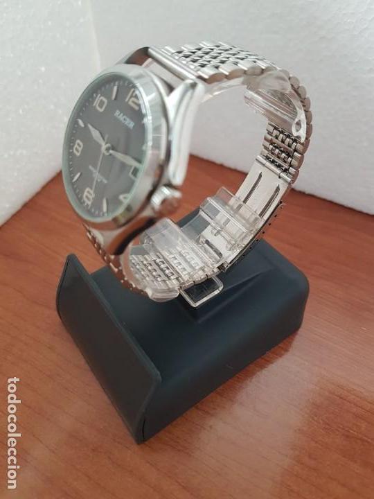 Relojes - Racer: Reloj caballero RACER de cuarzo en acero corona de rosca,esfera gris con calendario, pulsera acero - Foto 4 - 163495178