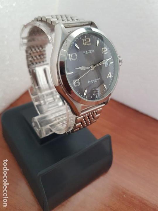 Relojes - Racer: Reloj caballero RACER de cuarzo en acero corona de rosca,esfera gris con calendario, pulsera acero - Foto 5 - 163495178