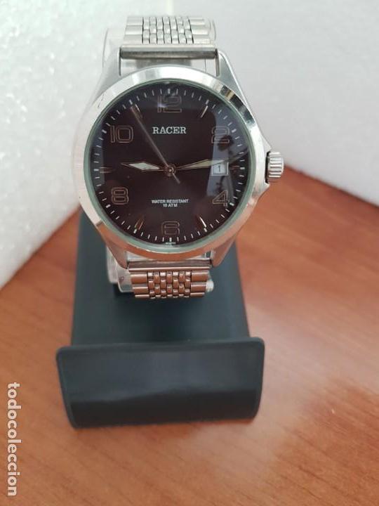Relojes - Racer: Reloj caballero RACER de cuarzo en acero corona de rosca,esfera gris con calendario, pulsera acero - Foto 9 - 163495178