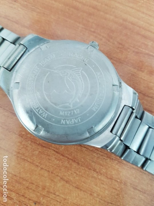Relojes - Racer: Reloj caballero RACER de titanio con calendario a las tres, esfera blanca, correa titanio original. - Foto 15 - 178614356