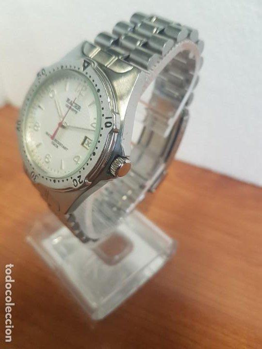 Relojes - Racer: Reloj caballero RACER cuarzo en acero, esfera blanca, corona rosca, correa original RACER en acero - Foto 2 - 190806398