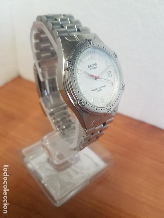 Relojes - Racer: Reloj caballero RACER cuarzo en acero, esfera blanca, corona rosca, correa original RACER en acero - Foto 5 - 190806398