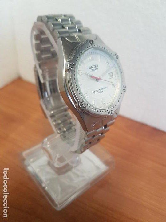 Relojes - Racer: Reloj caballero RACER cuarzo en acero, esfera blanca, corona rosca, correa original RACER en acero - Foto 15 - 190806398