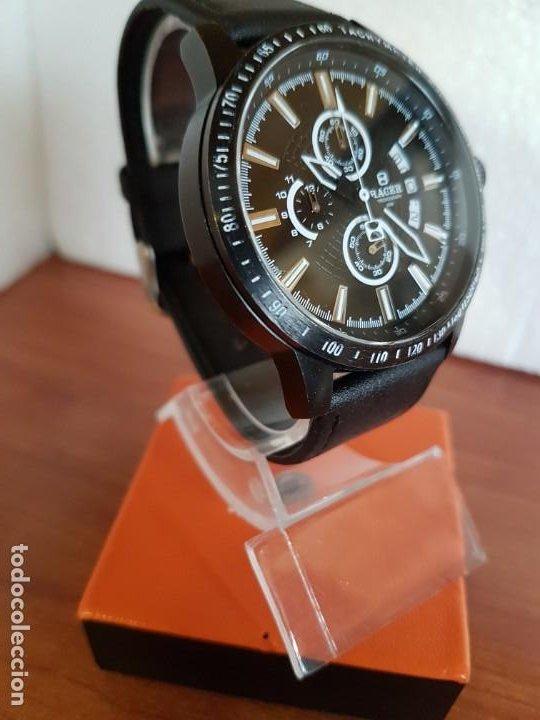 Relojes - Racer: Reloj caballero Racer cronografo de acero pavonado negro, calendario a las tres, correa cuero negra - Foto 3 - 190911793