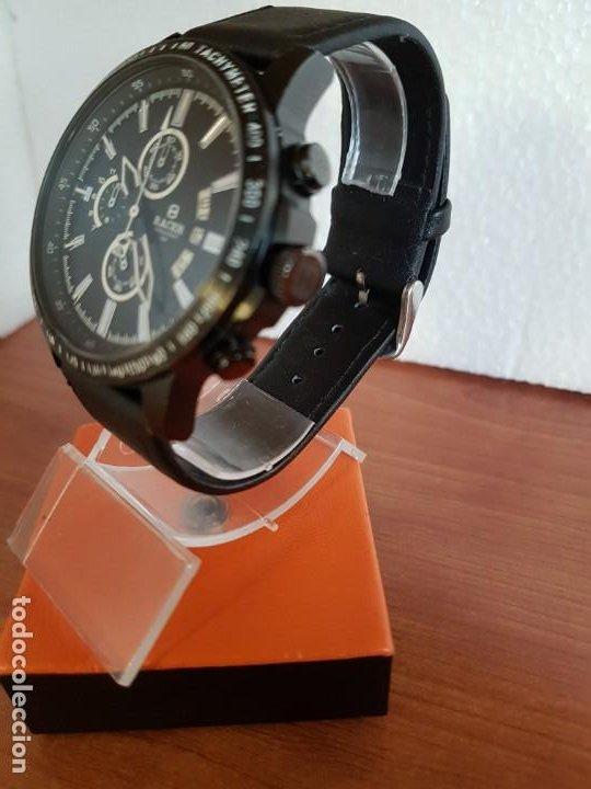 Relojes - Racer: Reloj caballero Racer cronografo de acero pavonado negro, calendario a las tres, correa cuero negra - Foto 4 - 190911793