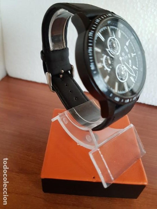 Relojes - Racer: Reloj caballero Racer cronografo de acero pavonado negro, calendario a las tres, correa cuero negra - Foto 5 - 190911793