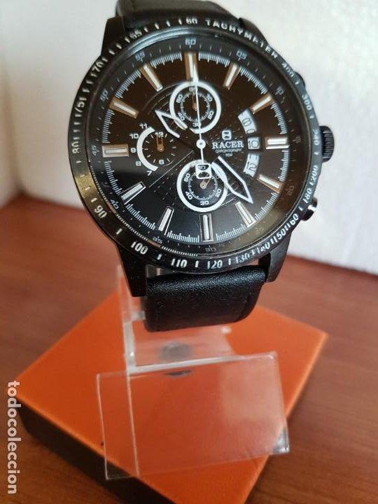 Relojes - Racer: Reloj caballero Racer cronografo de acero pavonado negro, calendario a las tres, correa cuero negra - Foto 6 - 190911793