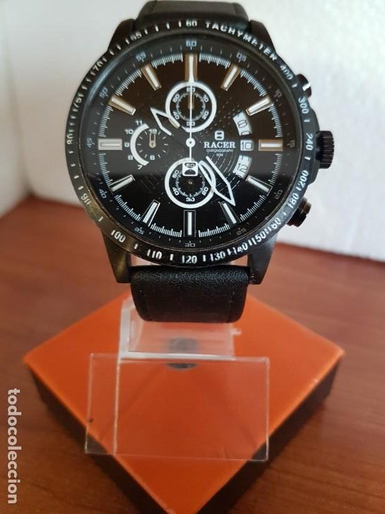 Relojes - Racer: Reloj caballero Racer cronografo de acero pavonado negro, calendario a las tres, correa cuero negra - Foto 8 - 190911793