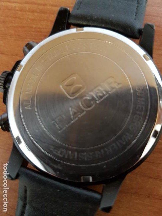 Relojes - Racer: Reloj caballero Racer cronografo de acero pavonado negro, calendario a las tres, correa cuero negra - Foto 16 - 190911793