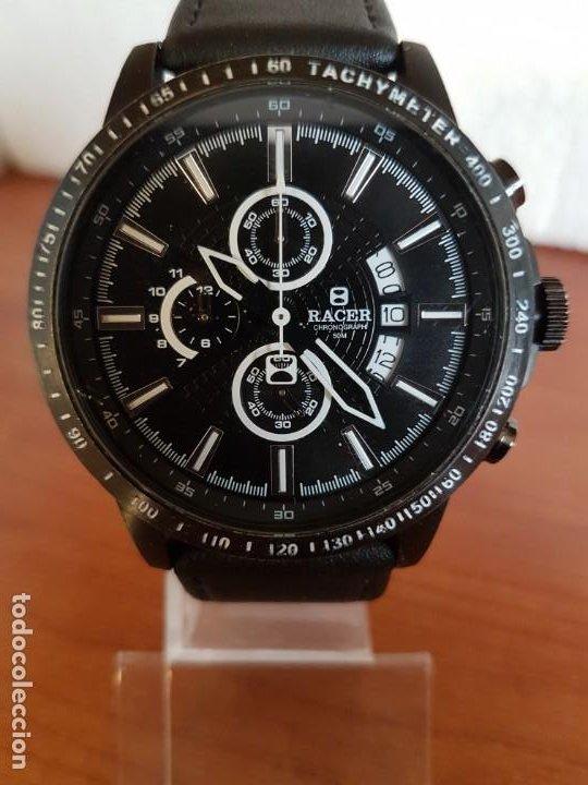Relojes - Racer: Reloj caballero Racer cronografo de acero pavonado negro, calendario a las tres, correa cuero negra - Foto 18 - 190911793