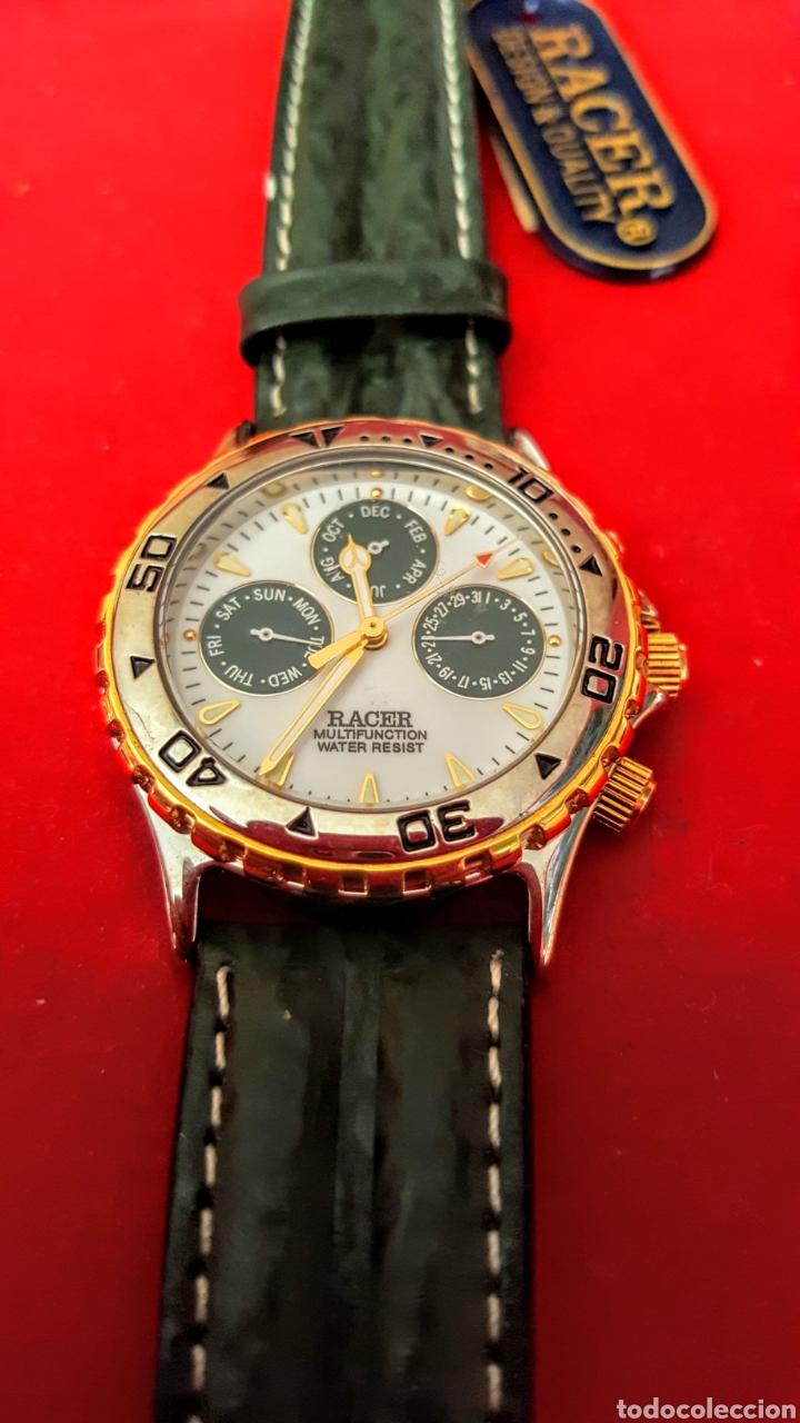 Relojes - Racer: Reloj RACER MULTIFUNCION WUATER RESISTEN NUEVO SIN ESTRENAR FUNCIONA PERFECTAMENTE DIÁMETRO 34.5 MIL - Foto 2 - 195273827