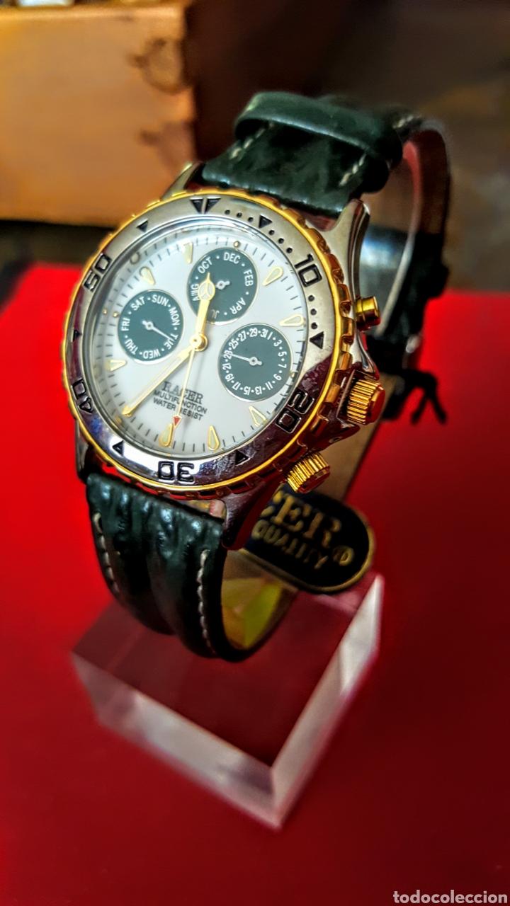Relojes - Racer: Reloj RACER MULTIFUNCION WUATER RESISTEN NUEVO SIN ESTRENAR FUNCIONA PERFECTAMENTE DIÁMETRO 34.5 MIL - Foto 3 - 195273827