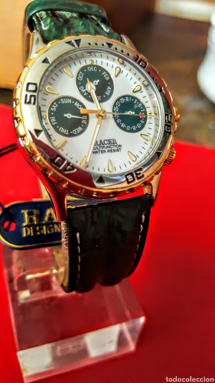 Relojes - Racer: Reloj RACER MULTIFUNCION WUATER RESISTEN NUEVO SIN ESTRENAR FUNCIONA PERFECTAMENTE DIÁMETRO 34.5 MIL - Foto 4 - 195273827