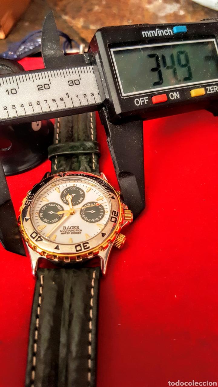 Relojes - Racer: Reloj RACER MULTIFUNCION WUATER RESISTEN NUEVO SIN ESTRENAR FUNCIONA PERFECTAMENTE DIÁMETRO 34.5 MIL - Foto 7 - 195273827