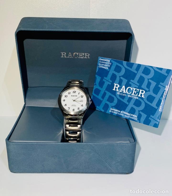 RELOJ RACER QUARTZ WATER RESISTANT 10ATM STAINLESS STEEL. ED. ESPEC. CAJA Y PAPELES. NOS. IMPECABLE. (Relojes - Relojes Actuales - Racer)