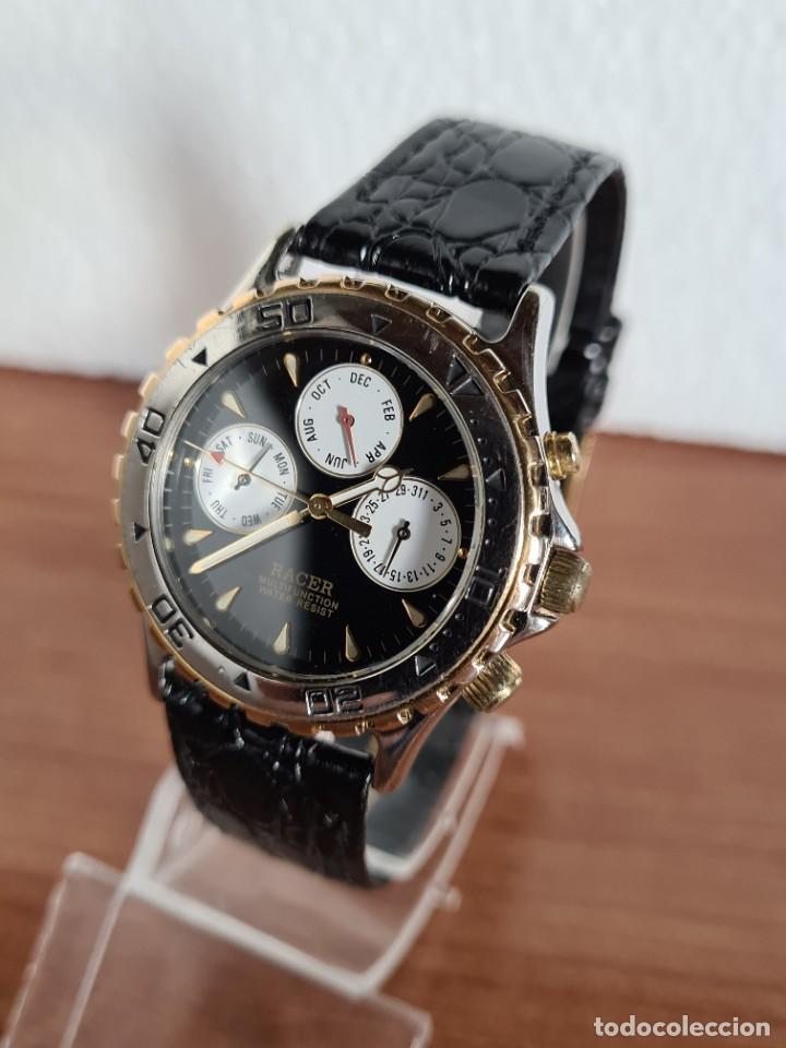 Relojes - Racer: Reloj caballero RACER multifunción en acero y oro, esfera negra, cristal sin rayas, correa de cuero. - Foto 2 - 223348503