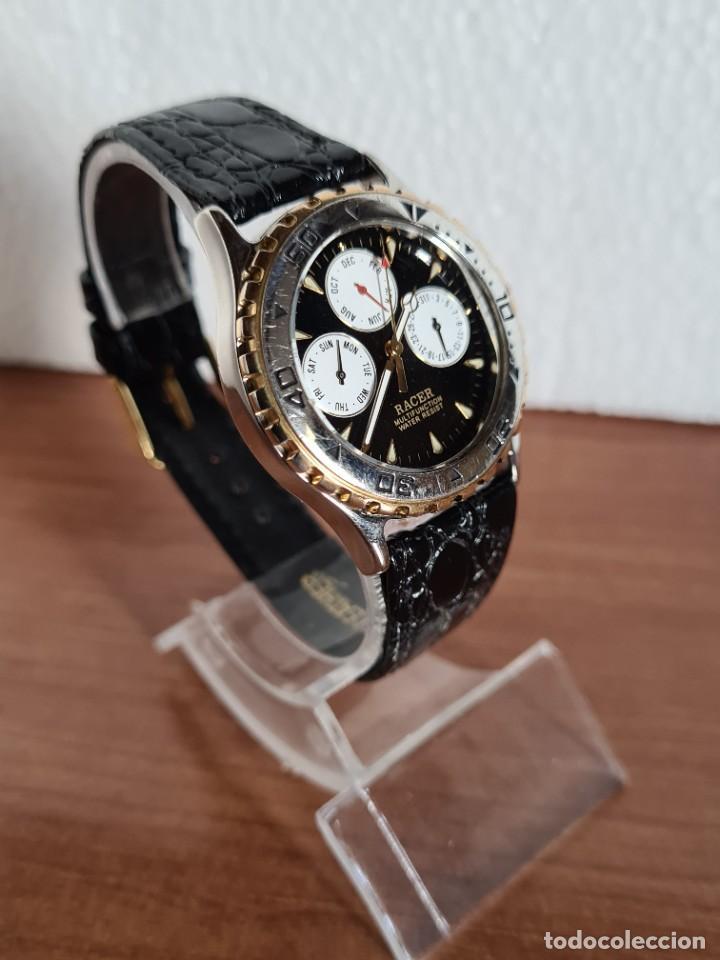 Relojes - Racer: Reloj caballero RACER multifunción en acero y oro, esfera negra, cristal sin rayas, correa de cuero. - Foto 3 - 223348503