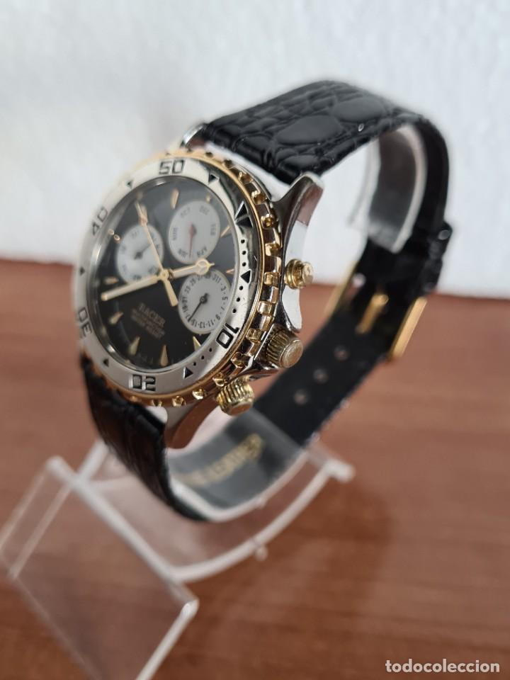 Relojes - Racer: Reloj caballero RACER multifunción en acero y oro, esfera negra, cristal sin rayas, correa de cuero. - Foto 4 - 223348503