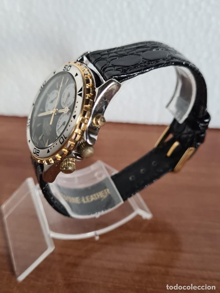 Relojes - Racer: Reloj caballero RACER multifunción en acero y oro, esfera negra, cristal sin rayas, correa de cuero. - Foto 6 - 223348503