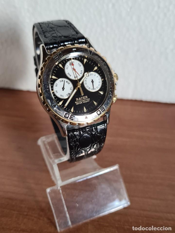 Relojes - Racer: Reloj caballero RACER multifunción en acero y oro, esfera negra, cristal sin rayas, correa de cuero. - Foto 8 - 223348503