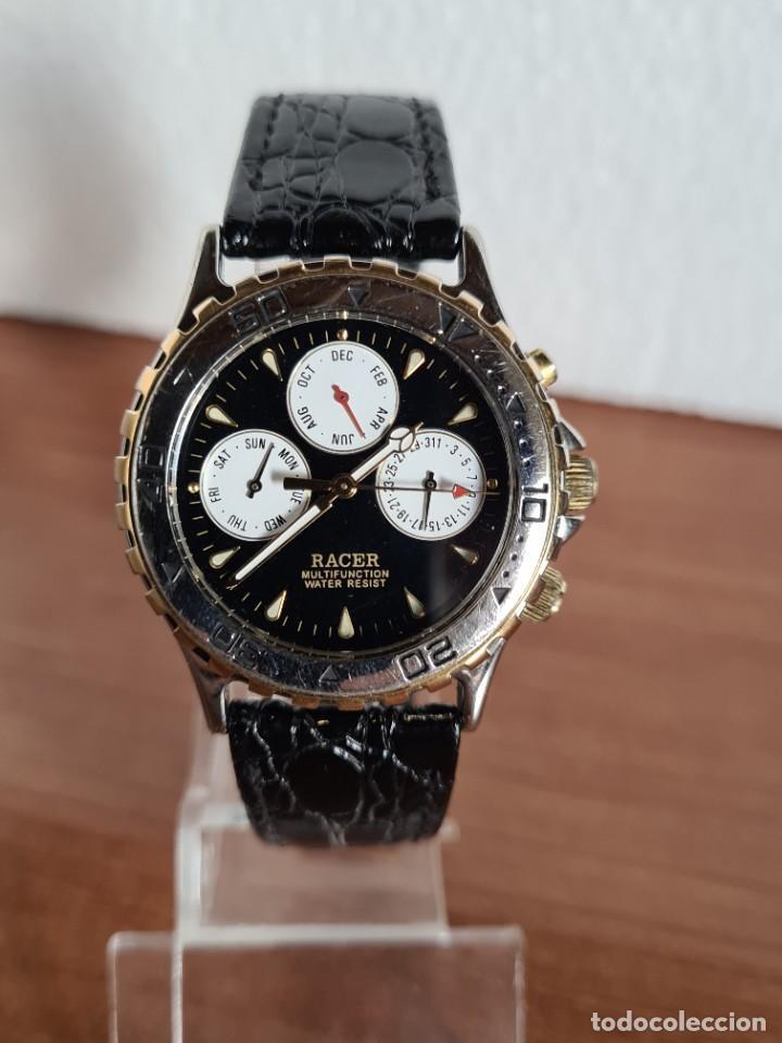 Relojes - Racer: Reloj caballero RACER multifunción en acero y oro, esfera negra, cristal sin rayas, correa de cuero. - Foto 9 - 223348503