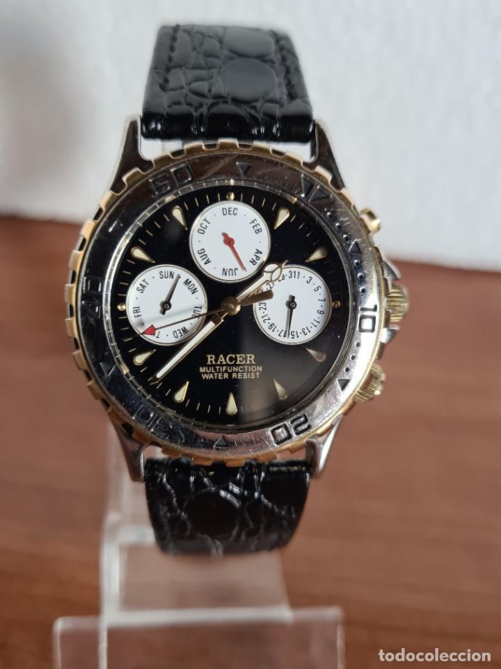 Relojes - Racer: Reloj caballero RACER multifunción en acero y oro, esfera negra, cristal sin rayas, correa de cuero. - Foto 11 - 223348503